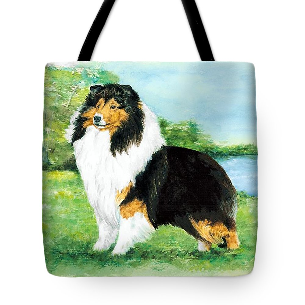 Shetland Sheepdog Tote Bag featuring the painting Sheltie Wait by Kathleen Sepulveda