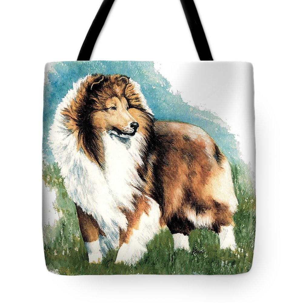 Shetland Sheepdog Tote Bag featuring the painting Sheltie Watch by Kathleen Sepulveda