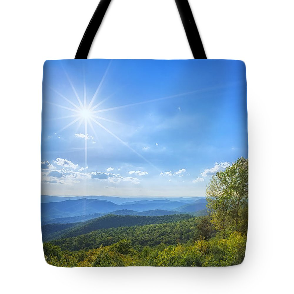Blue Ridge Mountains Tote Bag featuring the photograph Shenandoah's The Point Overlook by Sylvia J Zarco
