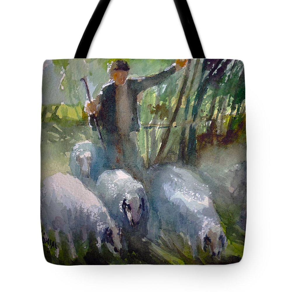 Country Tote Bag featuring the painting Shepherd... by Faruk Koksal