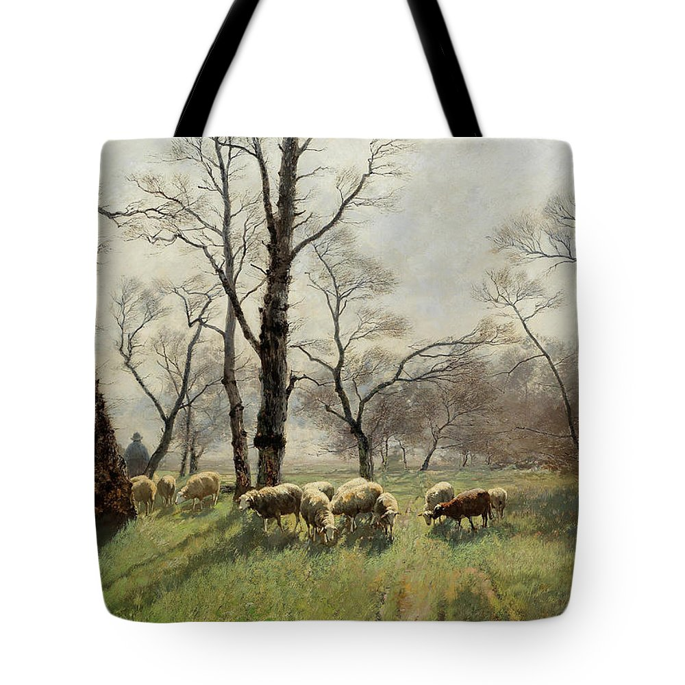 August Fink Tote Bag featuring the painting Shepherd With His Flock In The Evening Light by August Fink