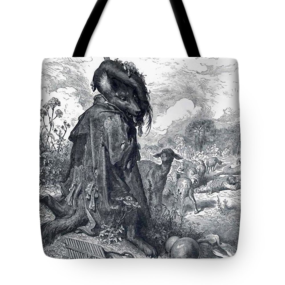 Shepherd Tote Bag featuring the painting Shepherd Wolf by Dore Gustave