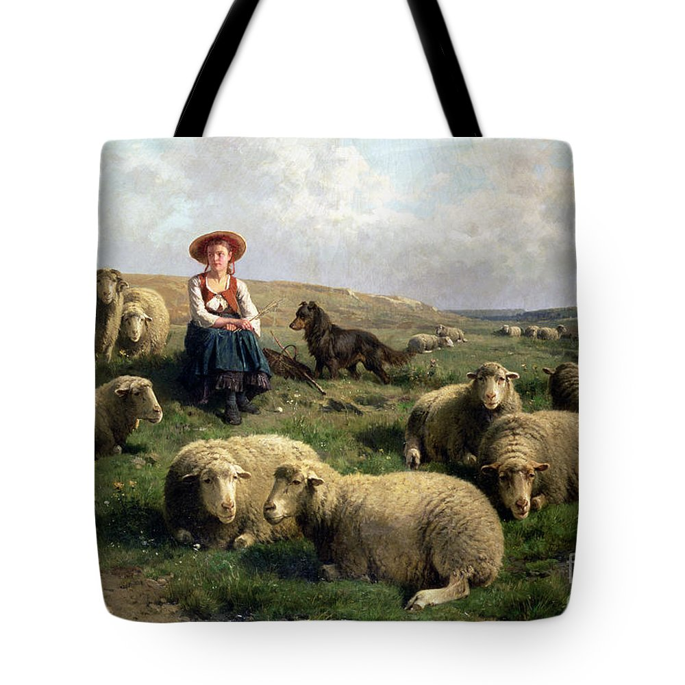Shepherdess With Sheep In A Landscape By C. Leemputten (1841-1902) And Gerard Tote Bag featuring the painting Shepherdess With Sheep In A Landscape by C Leemputten and T Gerard