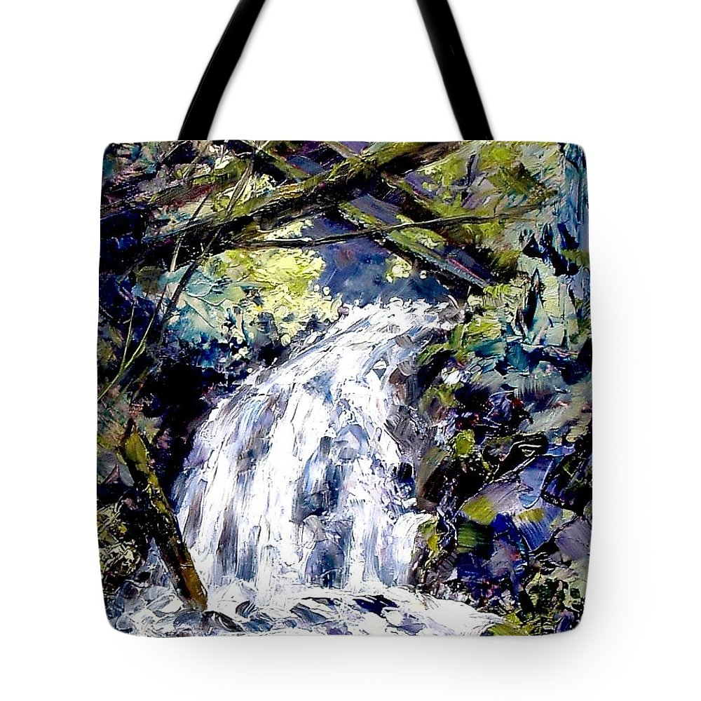 Landscape Tote Bag featuring the painting Shepherds Dell Falls Coumbia Gorge Or by Jim Gola