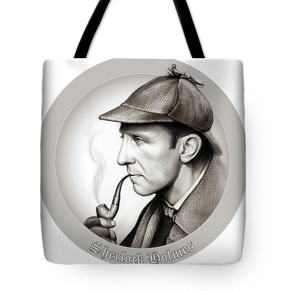Sherlock Holmes Tote Bag featuring the mixed media Sherlock Holmes by Greg Joens