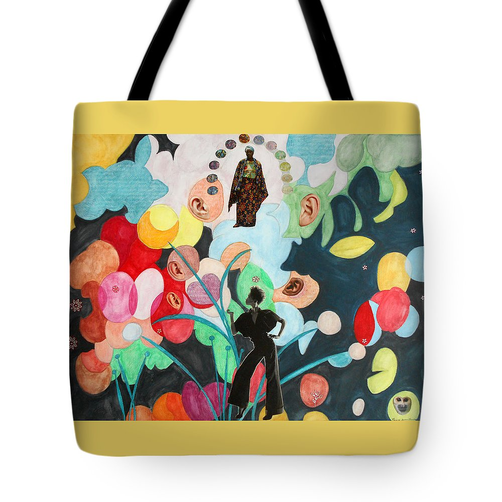 Collage African-american Woman Women Mary Ears Watercolor Surreal Surrealist Surrealism Painting Paintings Bright Color Multicolored Photography Pop Tote Bag featuring the painting She's Thinking Of Listening by Laura Joan Levine