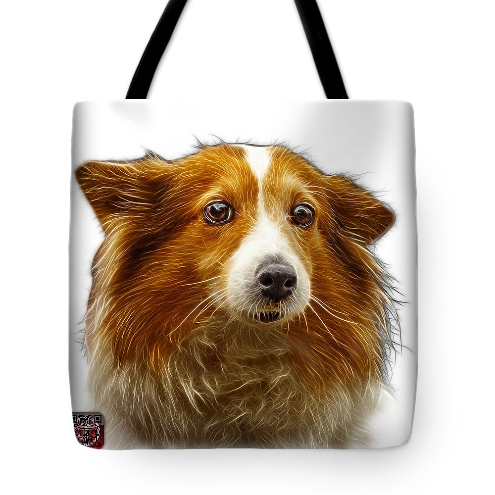 Sheltie Tote Bag featuring the digital art Shetland Sheepdog Dog Art 9973 - Wb by James Ahn