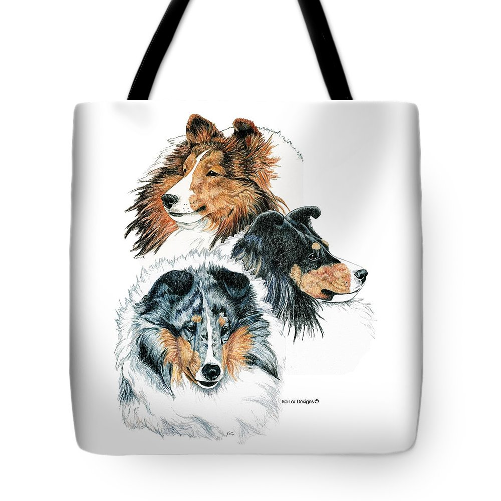 Shetland Sheepdog Tote Bag featuring the drawing Shetland Sheepdogs by Kathleen Sepulveda