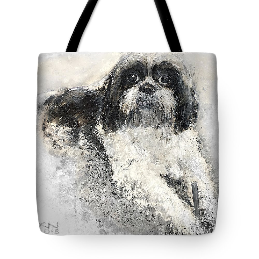 Shi-tzu Tote Bag featuring the painting Shi-tzu by Natalia Kuruch