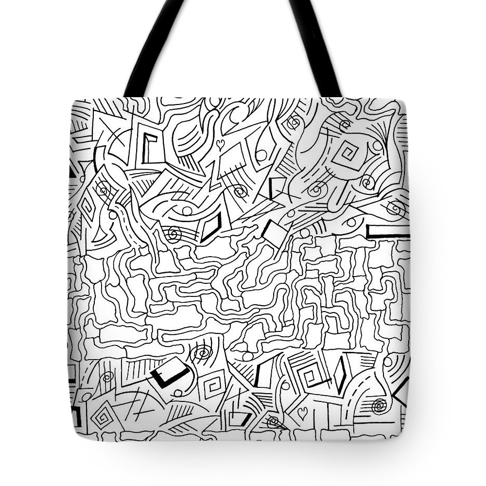 Mazes Tote Bag featuring the drawing shikShana by Steven Natanson