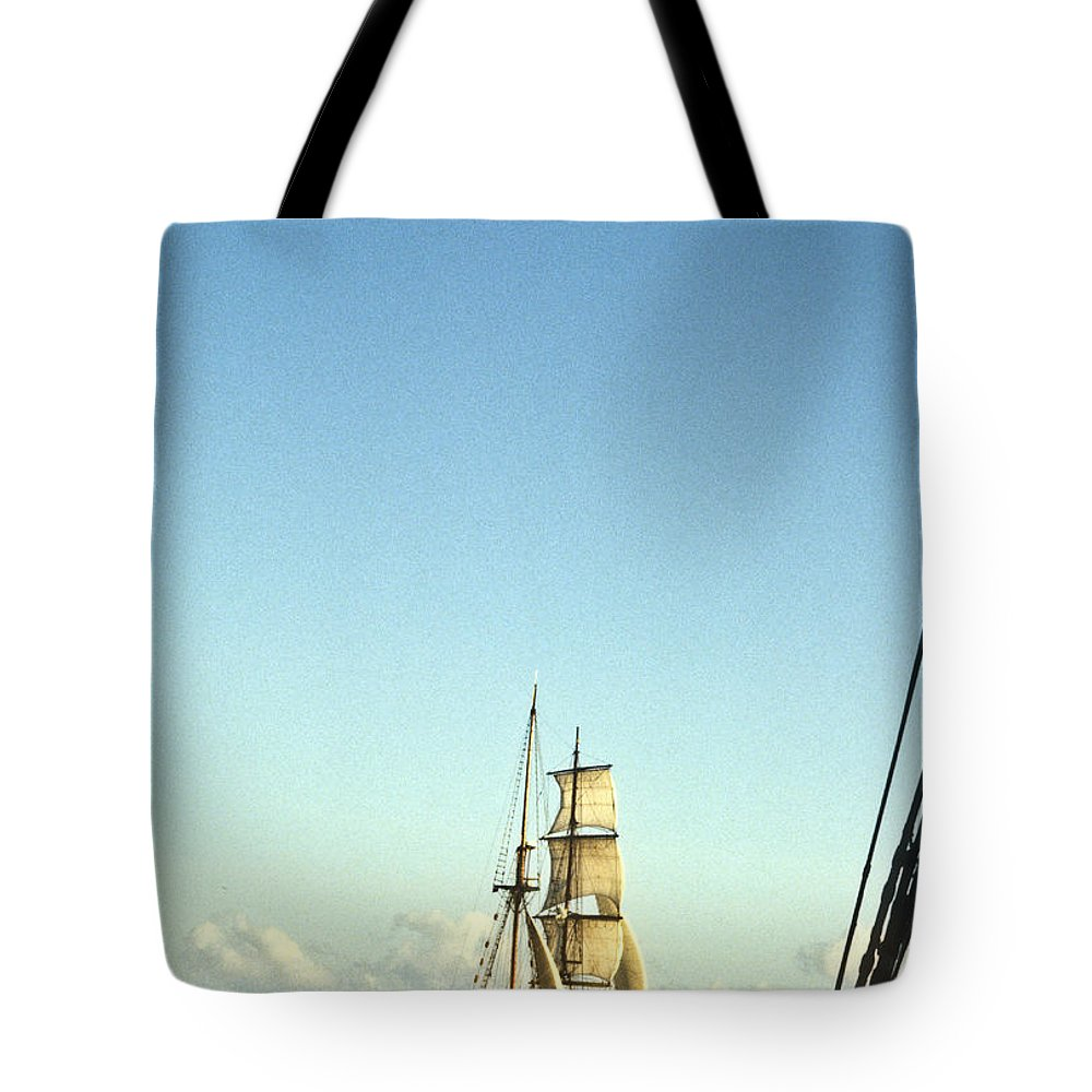 Ship Tote Bag featuring the photograph Ship Off The Bow by Douglas Barnett