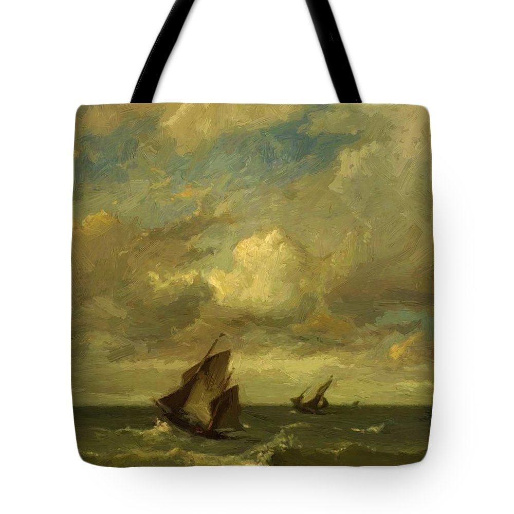 Shipping Tote Bag featuring the painting Shipping In A Breeze by Dupre Jules