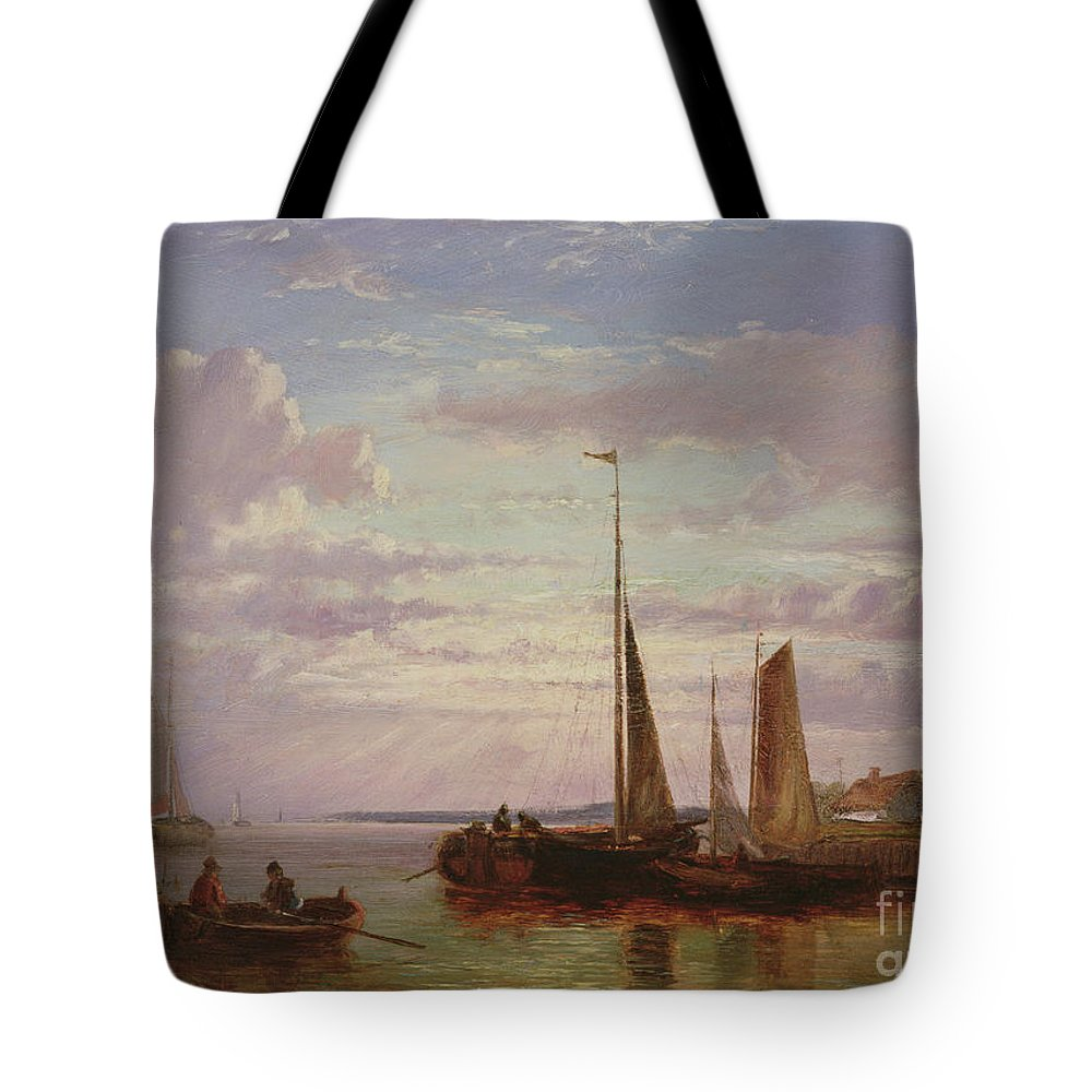 Hulk Tote Bag featuring the painting Shipping In A Calm by Abraham Hulk