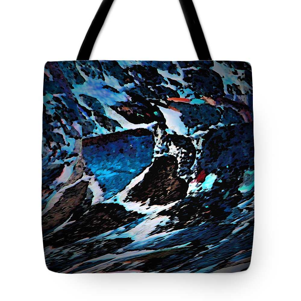 Abstract Tote Bag featuring the digital art Shoals by Lenore Senior