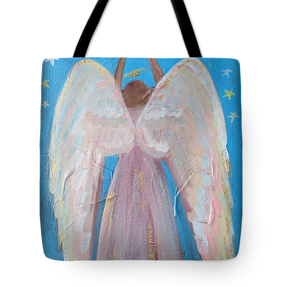 Wings Tote Bag featuring the painting Shooting Star Angel by Robin Maria Pedrero