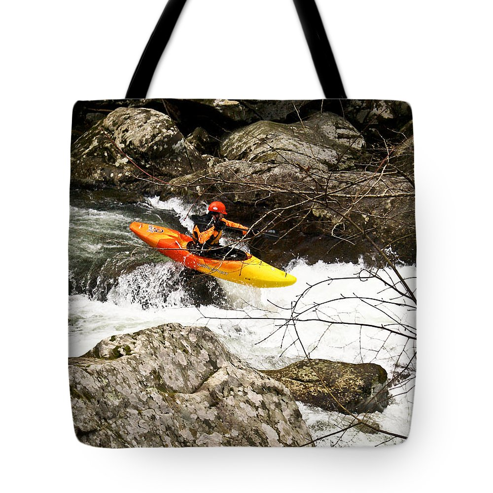 Rapids Tote Bag featuring the photograph Shooting The Rapids by Douglas Barnett