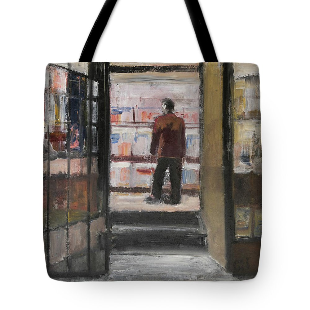 New York Tote Bag featuring the painting Shopping Solo by Craig Newland