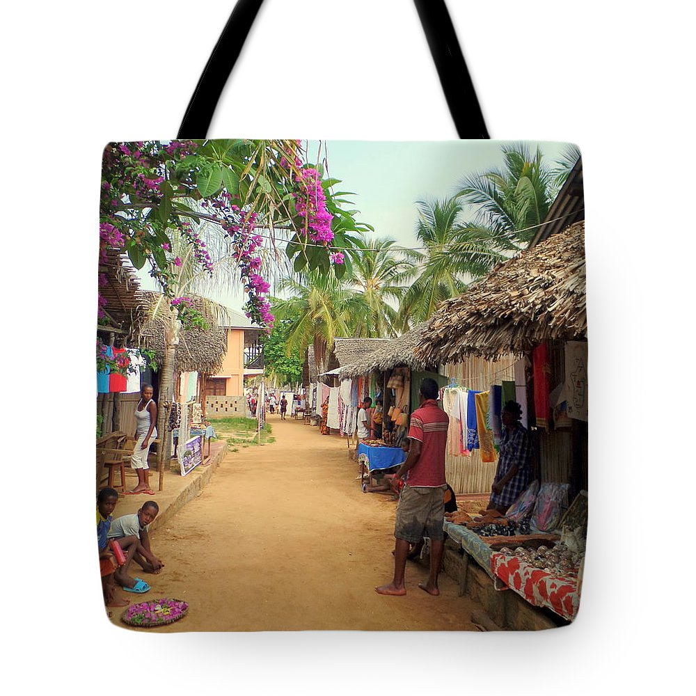 Nosy Be Tote Bag featuring the photograph Shops In Madagascar by John Potts