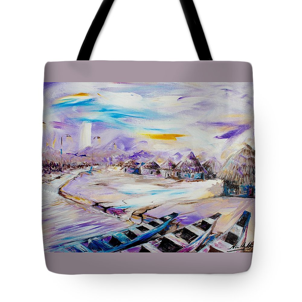 Nii Hylton Tote Bag featuring the painting Shoreline by Nii Hylton