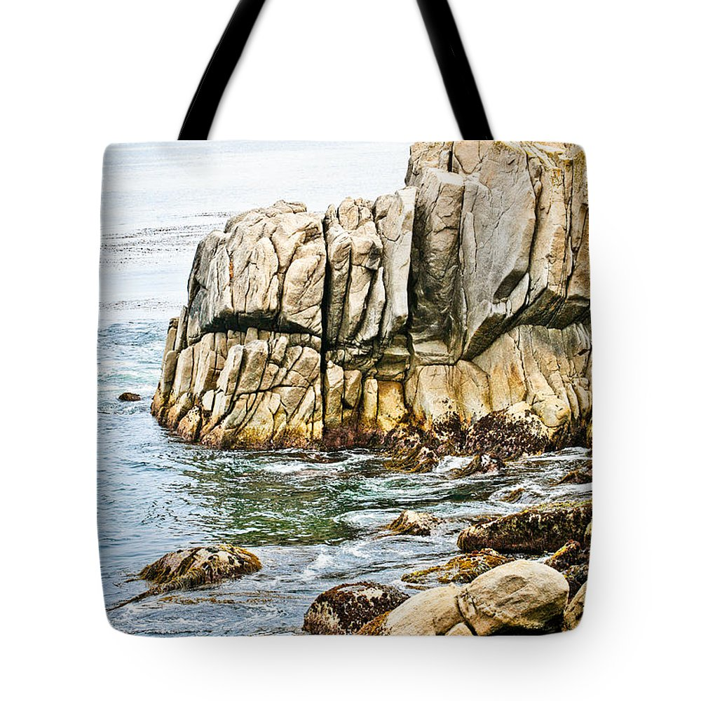Pebble Beach Tote Bag featuring the photograph Shores Of Pebble Beach by Marilyn Hunt
