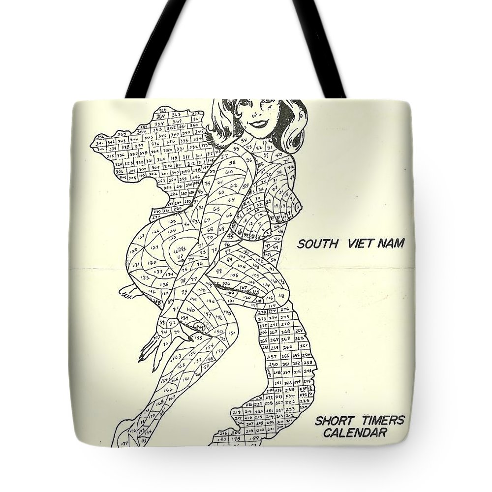 Tote bag drawing - Vietnam Tote Bag Featuring The Drawing Short Timers Calendar By Gary Canant