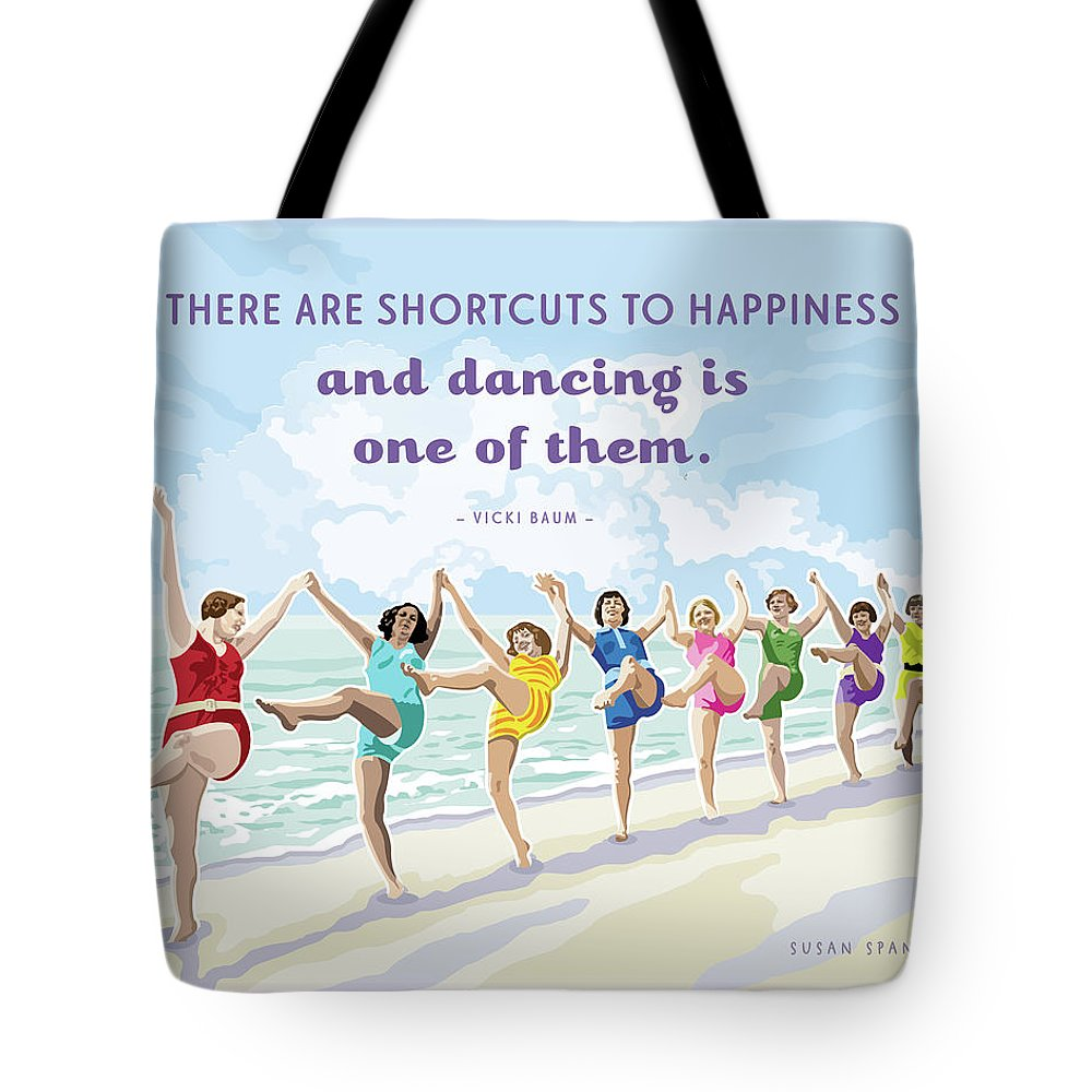 Beach House Tote Bag featuring the digital art Shortcuts To Happiness by Susan Spangler