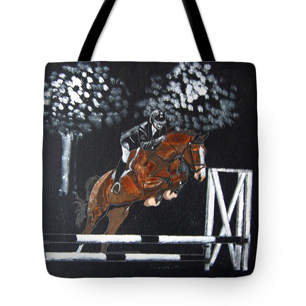Horse Tote Bag featuring the painting Show Jumper by Richard Le Page