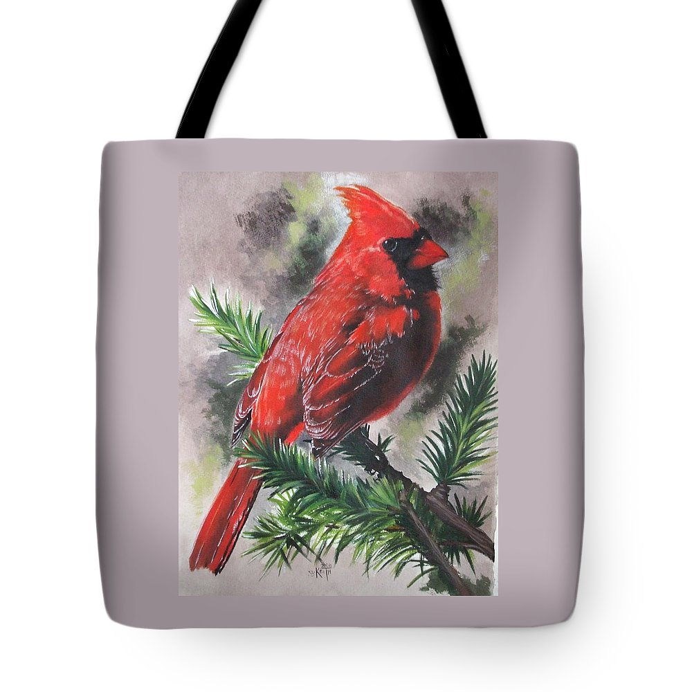 Cardinal Tote Bag featuring the painting Show-off by Barbara Keith