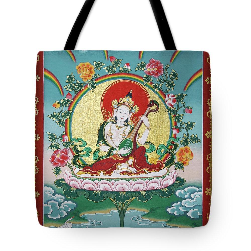 Shri Saraswati Tote Bag featuring the painting Shri Saraswati - Goddess Of Wisdom And Arts by Sergey Noskov