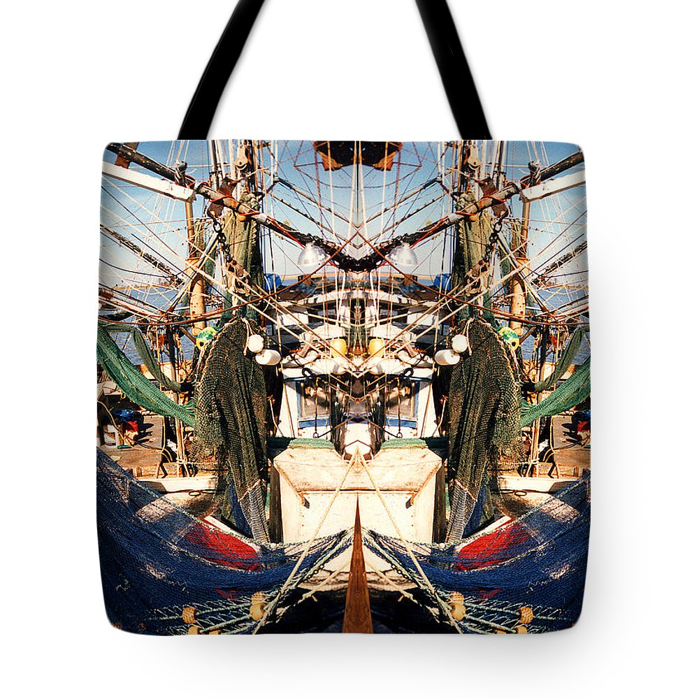 Shrimp Tote Bag featuring the photograph Shrimp Boat Abstract by Anne Cameron Cutri