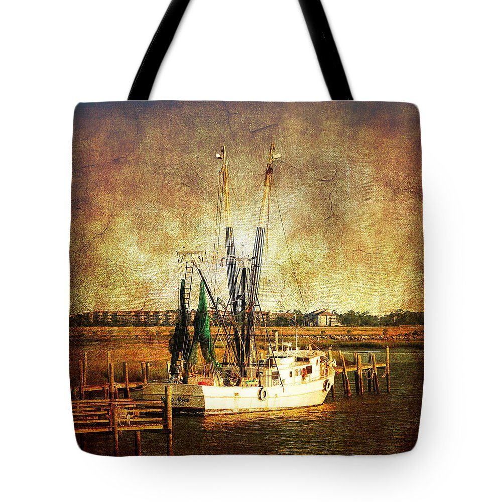 Shrimp Boat Tote Bag featuring the photograph Shrimp Boat In Charleston by Susanne Van Hulst