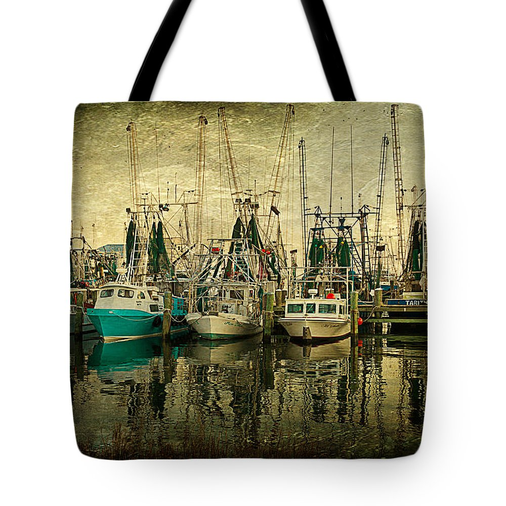 Boat Tote Bag featuring the photograph Shrimp Boat Lineup by Joan McCool