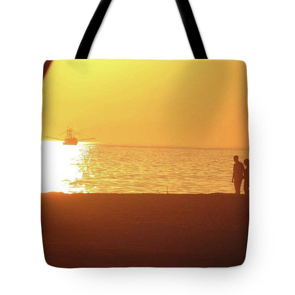 Tote Bag featuring the photograph Shrimp Boats And Love by Becky Haines