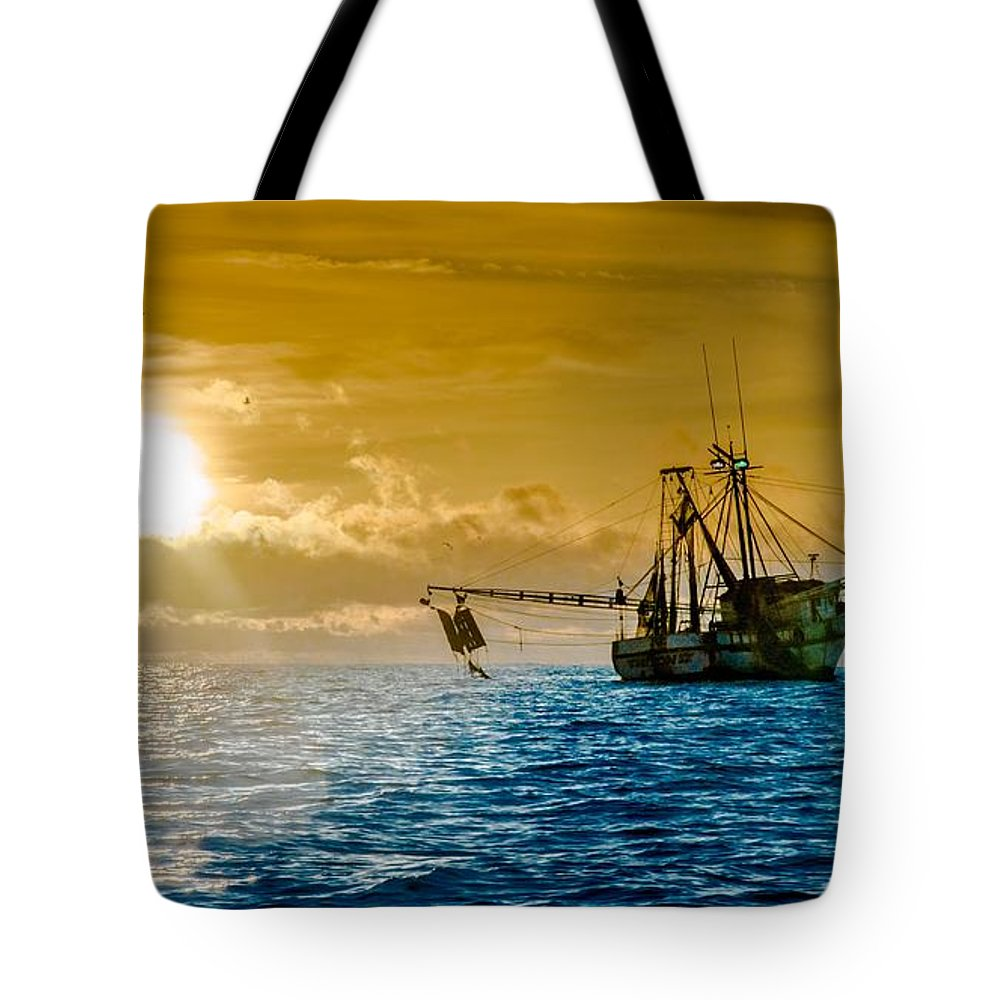 Shrimp Trawler Tote Bag featuring the photograph Shrimp Trawler at Dawn by Jim DeLillo