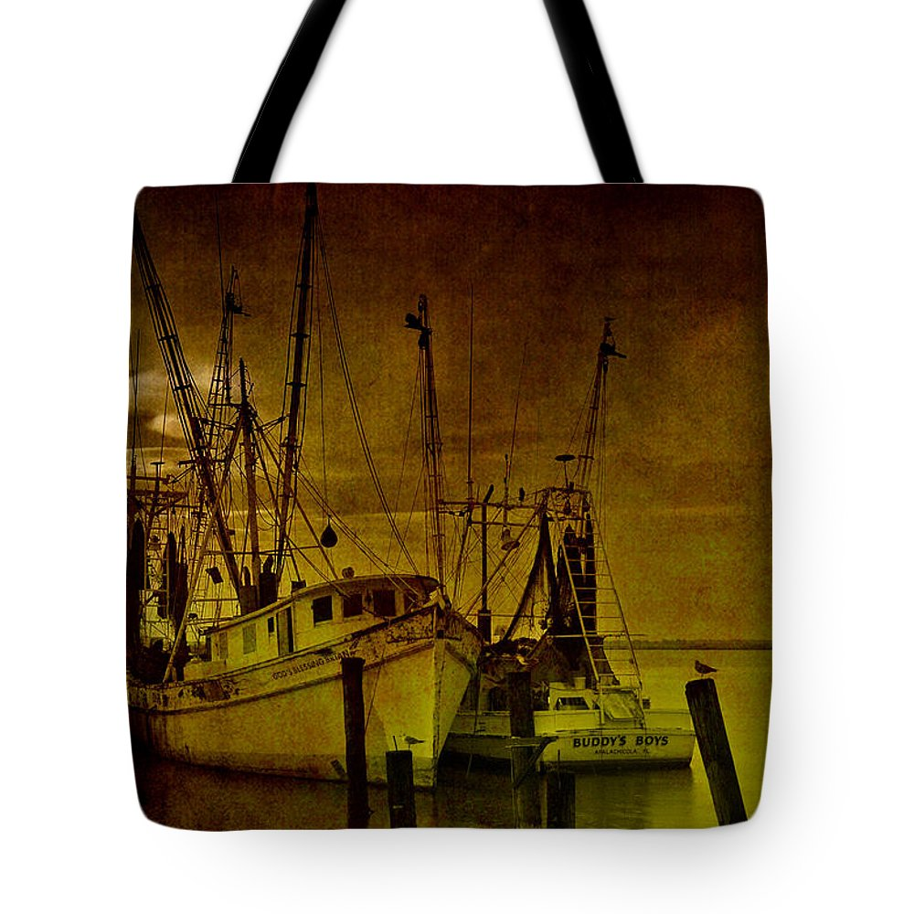 Shrimp Boat Tote Bag featuring the photograph Shrimpboats In Apalachicola by Susanne Van Hulst
