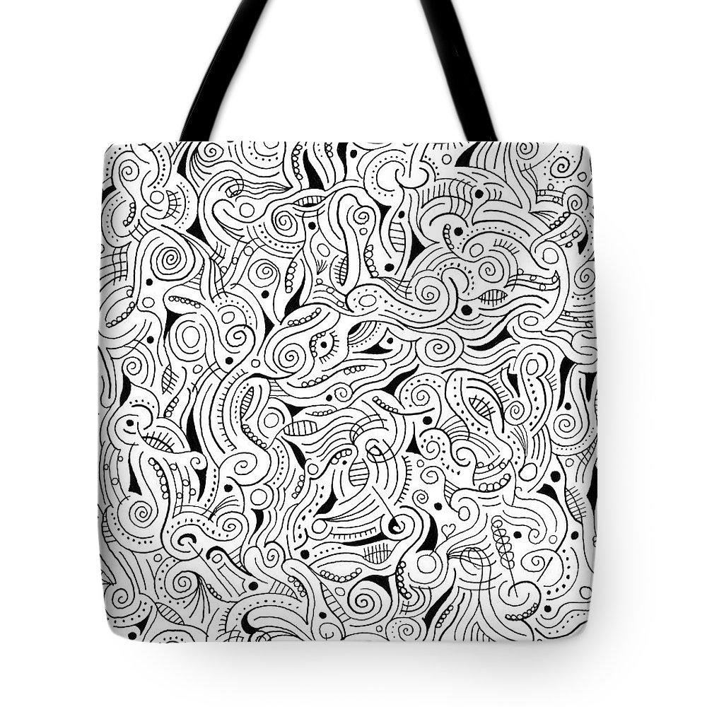 Abstract Tote Bag featuring the drawing shRMgaaragiita by Steven Natanson