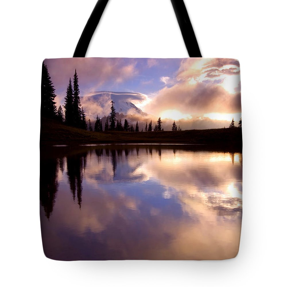 Rainier Tote Bag featuring the photograph Shrouded In Clouds by Mike Dawson