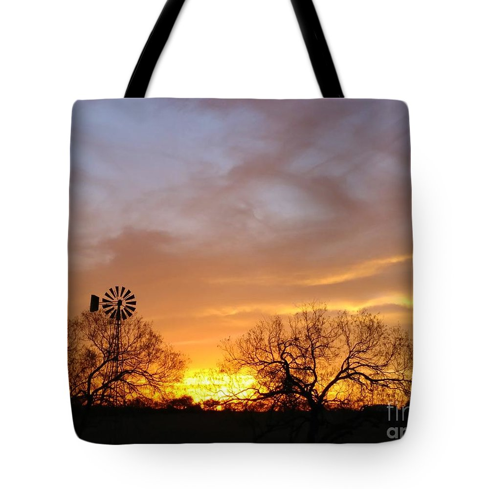 Sunset Tote Bag featuring the photograph Sky On Fire by Rancher's Eye Photography