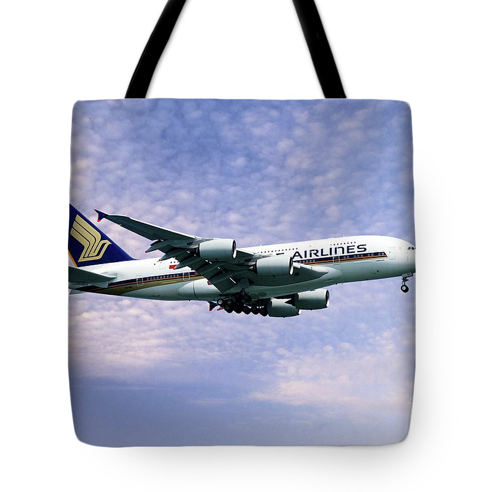 A380 Tote Bag featuring the digital art Sia A380 9v-ska by J Biggadike