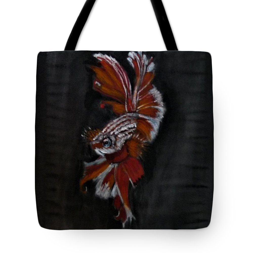 Siamese Tote Bag featuring the pastel Siamese Fighting Fish by Richard Le Page