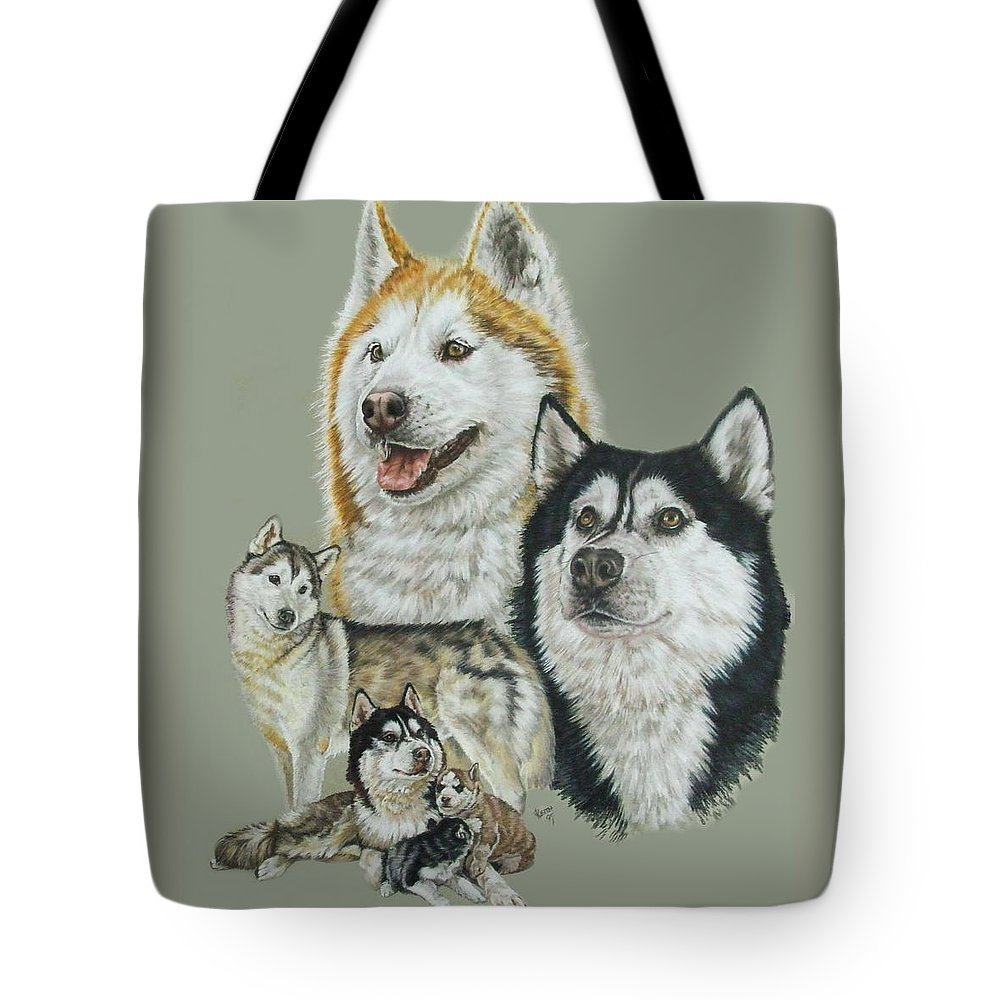 Purebred Dogs Tote Bag featuring the drawing Siberian Husky by Barbara Keith
