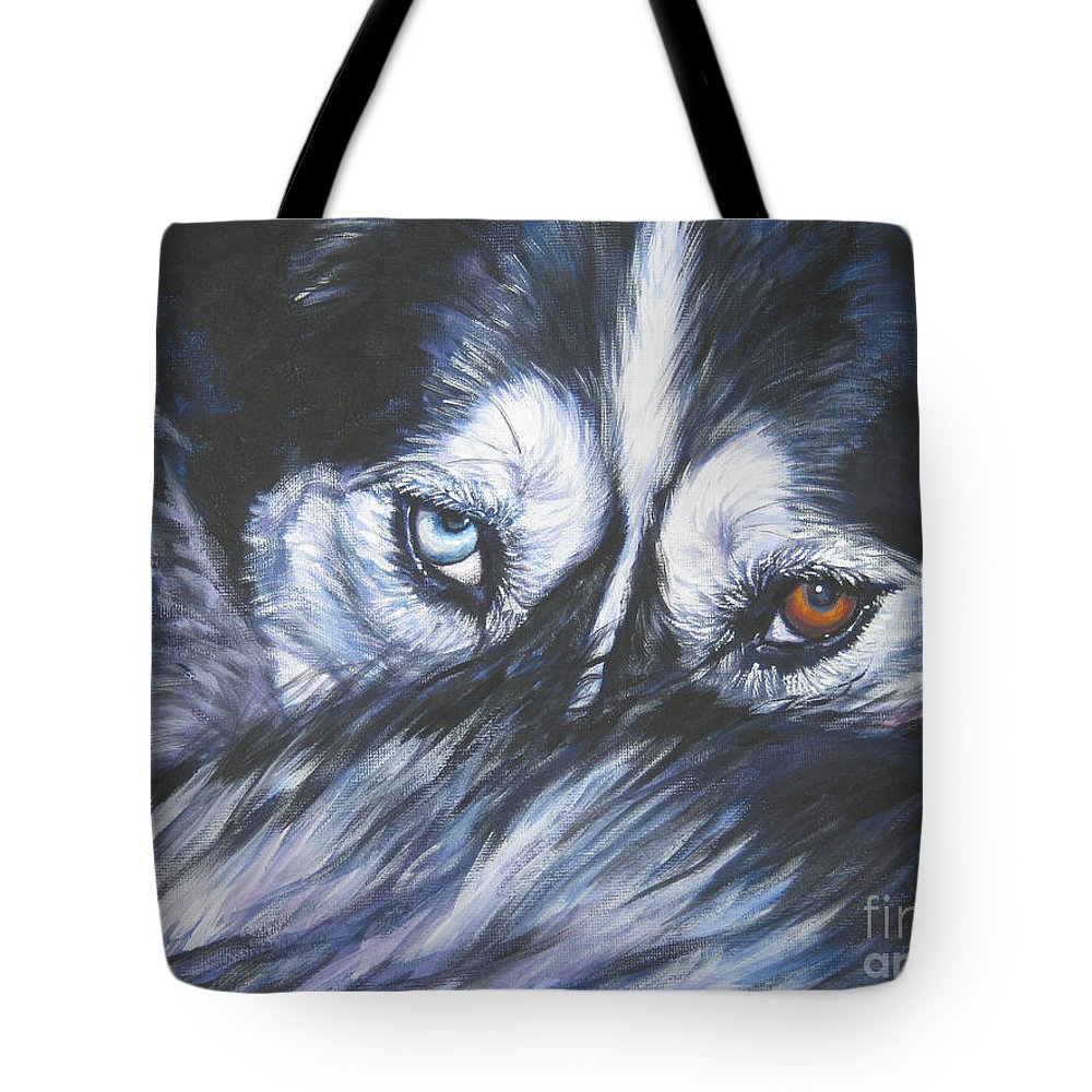 Siberian Husky Tote Bag featuring the painting Siberian Husky Eyes by Lee Ann Shepard