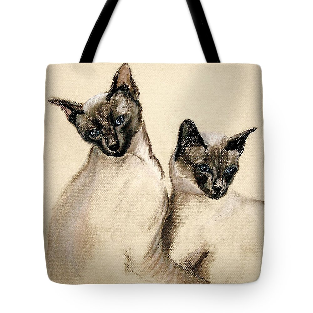 Cat Tote Bag featuring the drawing Sibling Love by Cori Solomon