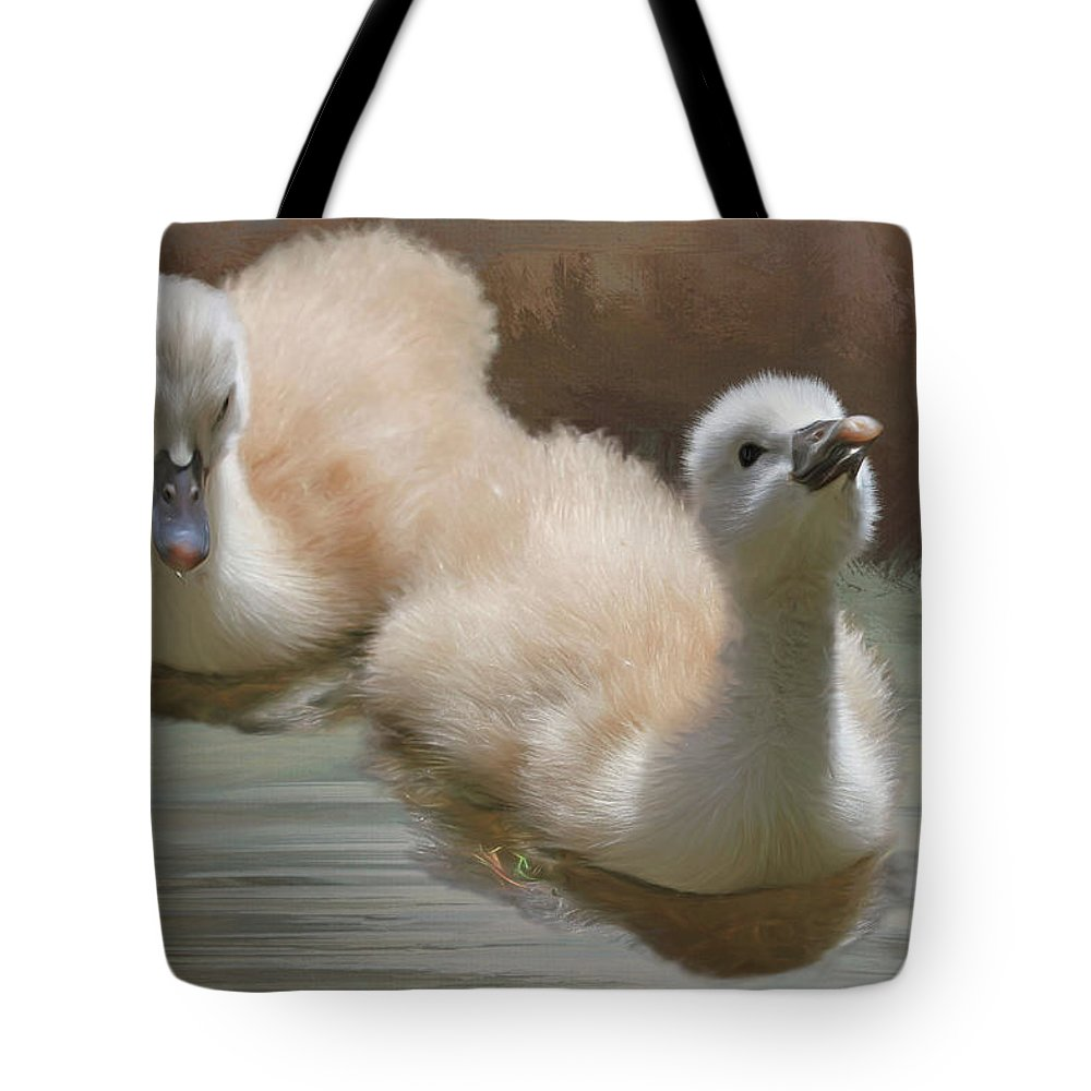 Baby Swan Photographs Tote Bags