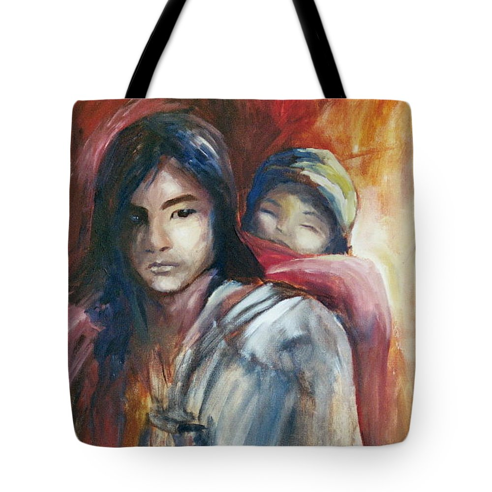Sibling Tote Bag featuring the painting Siblings by Jun Jamosmos