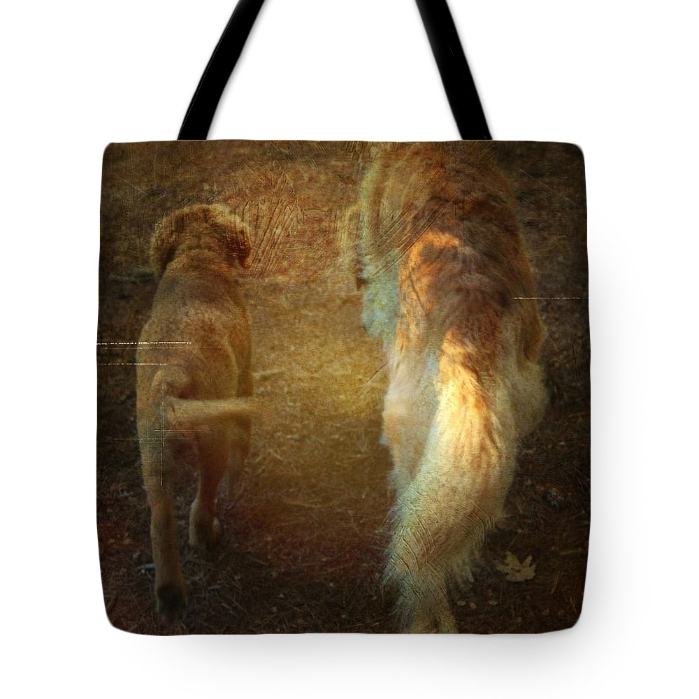 Dog Tote Bag featuring the photograph Side By Side by Modern Art