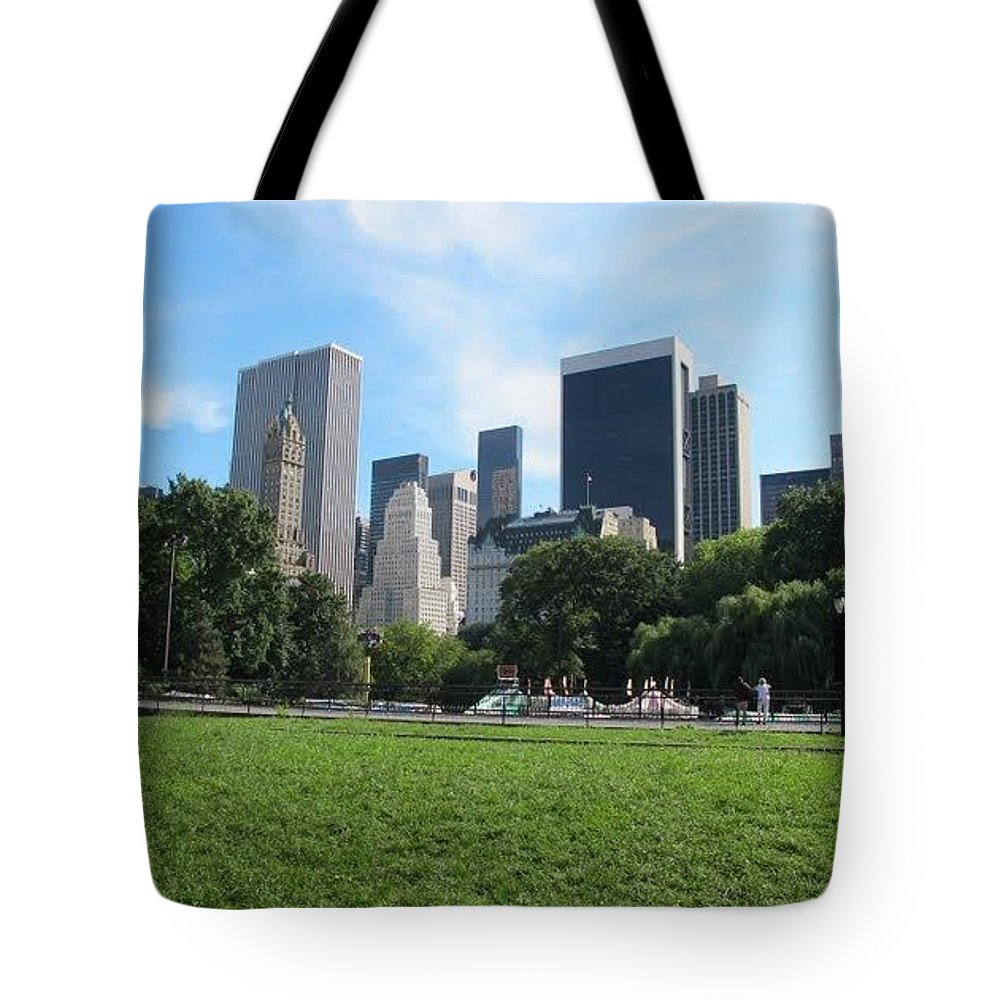 Citysquare Tote Bag featuring the photograph Side By Side Skyscrapers by Peggy Chambers