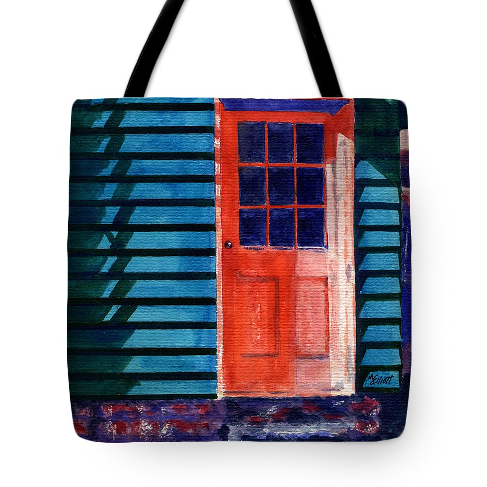 Door Tote Bag featuring the painting Side Door by Marsha Elliott
