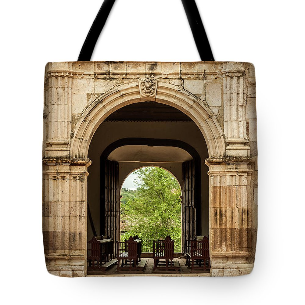 Landscape Tote Bag featuring the photograph Side Entrance Of Copala Church by Javier Flores