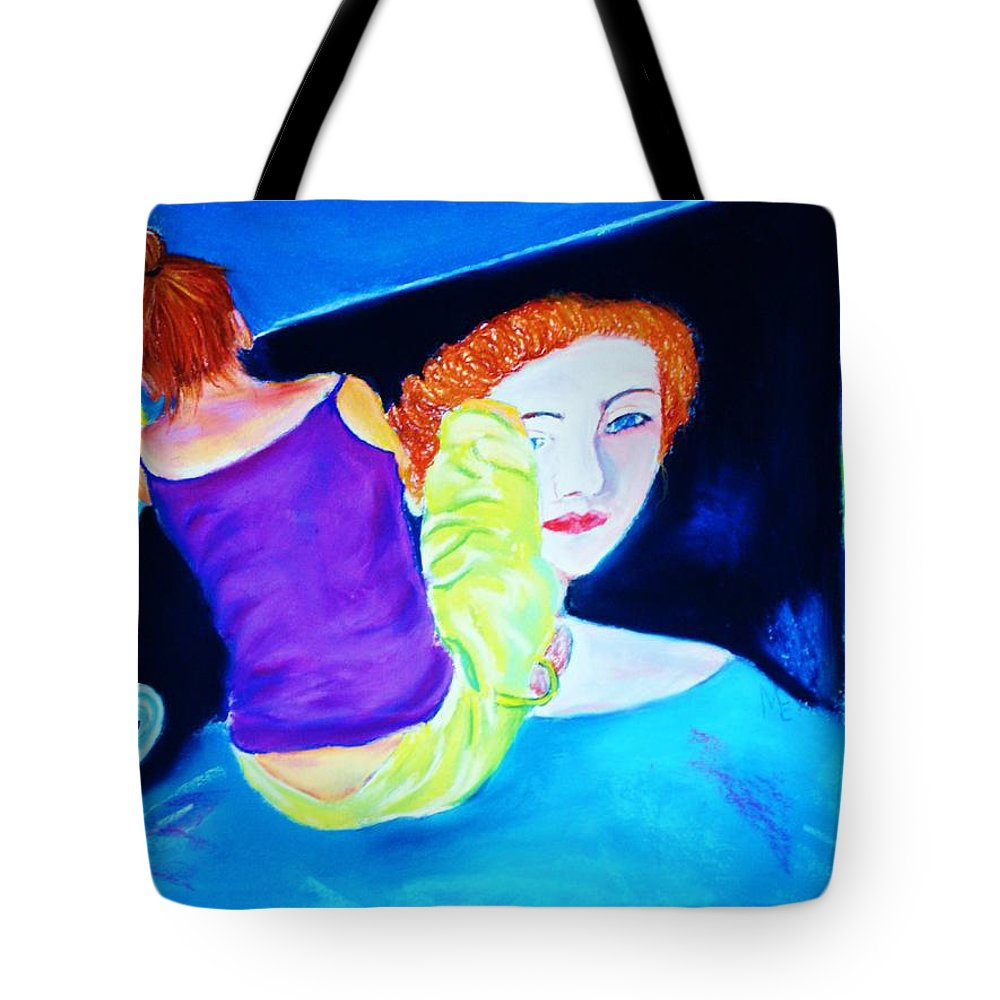 Painting Within A Painting Tote Bag featuring the print Sidewalk Artist II by Melinda Etzold